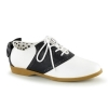 SADDLE-53 Black/White Faux Leather